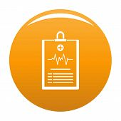 Cardiogram On Tablet Icon. Simple Illustration Of Cardiogram On Tablet Icon For Any Design Orange poster
