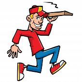 foto of take out pizza  - Cartoon of pizza running delivery boy - JPG
