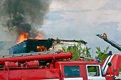 Fire Truck on Fire Background