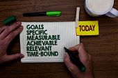 Word Writing Text Goals Specific Measurable Achievable Relevant Time Bound. Business Concept For Str poster