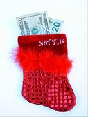Red Squin And Feather Stocking With Money