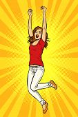 Joyful Young Woman Jumping Up. Pop Art Retro Vector Illustration Kitsch Vintage poster