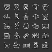 Childcare Chalk Icons Set. Equipment, Clothes, Carriages, Car Seats, Nutrition For Babies. Isolated  poster