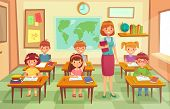 Pupils And Teacher In Classroom. School Pedagogue Teach Lesson To Pupil Kids. Schools Lessons At Cla poster