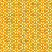 Orange Seamless Honey Combs Pattern. Honeycomb Texture, Hexagonal Honeyed Comb Vector Background poster