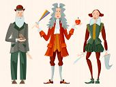 History Of England. Famous People. William Shakespeare, Isaac Newton, Charles Darwin. Vector Illustr poster