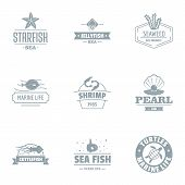 Starfish Logo Set. Simple Set Of 9 Starfish Vector Logo For Web Isolated On White Background poster