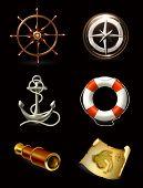 Marine set on black, high quality icons