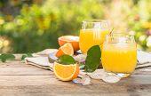Glass Of Fresh Orange Juice,ripe Orange Fruit And Slices On Natural . Freshly Squeezed Orange Juice  poster