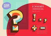 Vector Mosaic Typeset. Textured Geometric Type. Trendy Retro Typography For Dj Music Poster, Club Fl poster