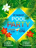 Pool Party Poster Tropical Background With Text. Summer Design. Tropic Flowers, Exotic Leaves, Swimm poster