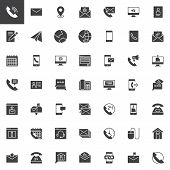 Contact Us Vector Icons Set, Modern Solid Symbol Collection, Filled Style Pictogram Pack. Signs, Log poster