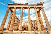 Erechtheion Temple On Acropolis, Athens, Greece. It Is One Of Main Landmarks Of Athens. Classic Anci poster