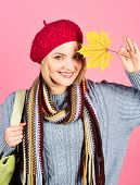 Autumn. Woman With Maple Leaves. Woman With Autumn Leaf. Yellow Maple Leaf. Woman In Red Hat Holds M poster