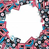 The Texture Of The Retro Frame Of An Old Hipster From Electronics Music Technology From Audio Player poster