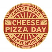 Cheese Pizza Day, September 5, Rubber Stamp, Vector Illustration poster