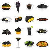 Black Food Vector Blackish Cooking Meal With Blacked Pasta Or Rice And Blacken Drinks Blackjack Illu poster