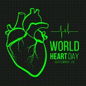 World Heart Day Banner With Green Human Heart Sign And Wave Heart Sign On Monitor Black Background V poster