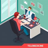 Modern Medical Technology Isometric Composition With Alternative Telemedicine Service Virtual Doctor poster
