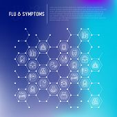 Flu And Symptoms Concept In Honeycombs Thin Line Icons: Temperature, Chills, Heat, Runny Nose, Docto poster