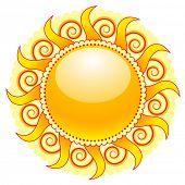 shiny sun icon isolated on white