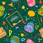 Welcome Back To School Pattern. School Background. Vector Illustration Pattern. Typography Emblem. B poster