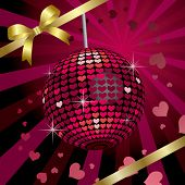 Ribbon & Heart Mirrorball