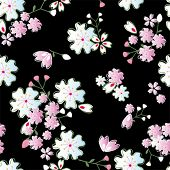 Seamless japanese blossoms pattern. Illustration vector.