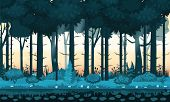 Fairy Forest. Bright Forest Woods, Silhouttes, Trees With Bushes, Ferns And Flowers. For Design Game poster