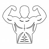 Strong Athletic Man Icon. Outline Illustration Of Strong Athletic Man Icon For Web poster