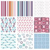 Vector set of nine different seamless pattern