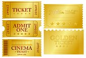 Verschillende golden ticket set, vectorillustratie