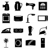 Household Appliances Icons Set. Simple Illustration Of 16 Household Appliances Icons For Web poster