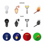 Led Light, Street Lamp, Match.light Source Set Collection Icons In Cartoon, Black, Flat Style Vector poster