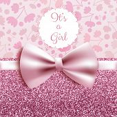 Its A Girl Baby Shower Cute Card Invitation With Pink Bow, Vector Illustration poster