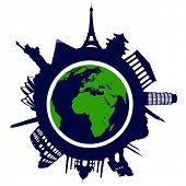 World famous landmarks poster