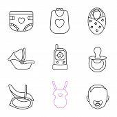 Childcare Linear Icons Set. Baby Diaper, Bib, Newborn, Car Seat, Radio Nanny, Pacifier, Rocking Chai poster