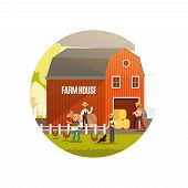 Cartoon Farm With Farmers, Farm Animals And Equipment Vector Illustration. Harvest Emblem Design. Ou poster