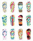 Set of colorful  Flip flops