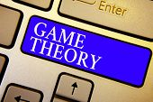 Text Sign Showing Game Theory. Conceptual Photo Branch Of Mathematics Concerned With Analysis Of Str poster