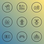 Public. Skyline Icons Line Style Set With Power Tower, Pizzeria, Transport Ticket And Other Skyline  poster