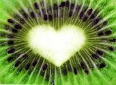 Abstract kiwi texture with heart shape