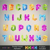 stock photo of prism  - Trendy Colorful Alphabet based on Fractal Geometry - JPG