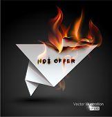 Burning paper Origami banner. Hot Offer.