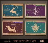 Vintage collection of chipboard Christmas cards. Two colors cards for printing the old fashioned way