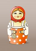 Traditional hand-drawn painted wood doll