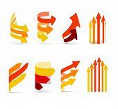 Conjunto de flechas de colores