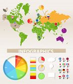 Infographics. Earth map and different chart