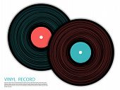 Vinyl Records Isolated Vector Musical Album Cover Template. Cool Music Symbols, Vintage Style Vinyl  poster