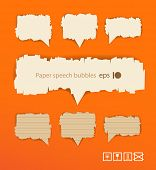 Paper style vector speech bubbles on orange background. Ready for a text
